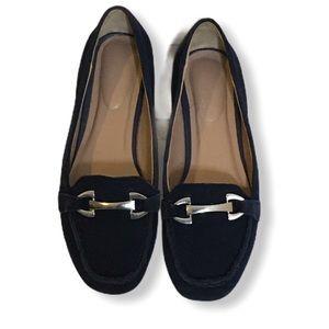 Suede Black Women's Buckle Slip-on Loafer Shoes